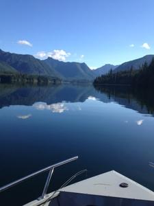 Clear lake w boat