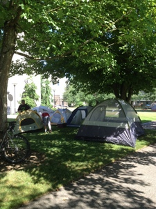 Centralia College looks like a campground during STP
