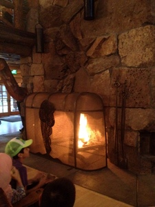 Even kids enjoy the fireplace! Old Faithful Inn, Yellowstone National Park