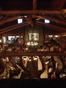 The view of the dining room from one floor up. Old Faithful Inn, Yellowstone National Park
