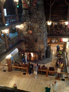 Looking down, lots of places to sit and relax. Old Faithful Inn, Yellowstone National Park