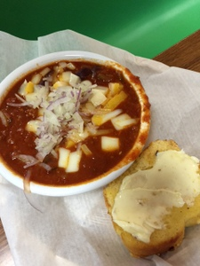 Chili and Cornbread at the Cottage Bakery, Long Beach WA