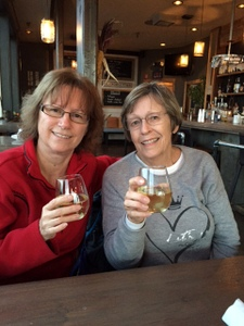 Nancy and Sue enjoying drinks at the Pickled Fish, Long Beach, WA