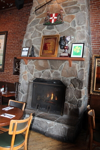 Fireplace in Kells Irish Pub, Portland, Oregon