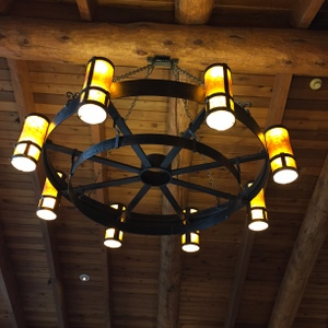 Looking up!  Great Hall Lights, Sunriver, Oregon
