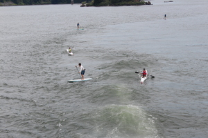 Kayakers and Boarder Riding the Wake