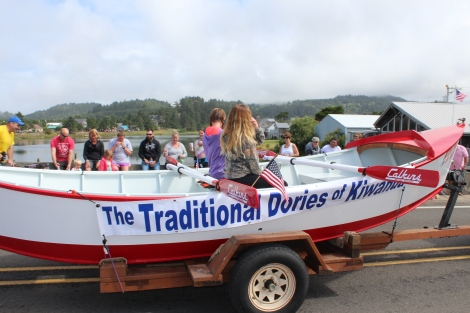 Traditional Dory Boat in the parade at Dory Days, Pacific City, Oregon