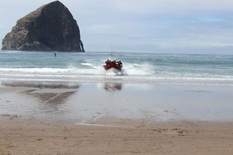 Dory Boat landing on the beach, Cape Kiwanda, Pacific City, Oregon